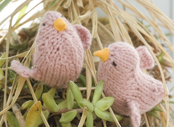 cute knitted birds