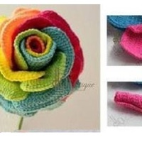 Crochet Rose with Multicolor Petals 🌹