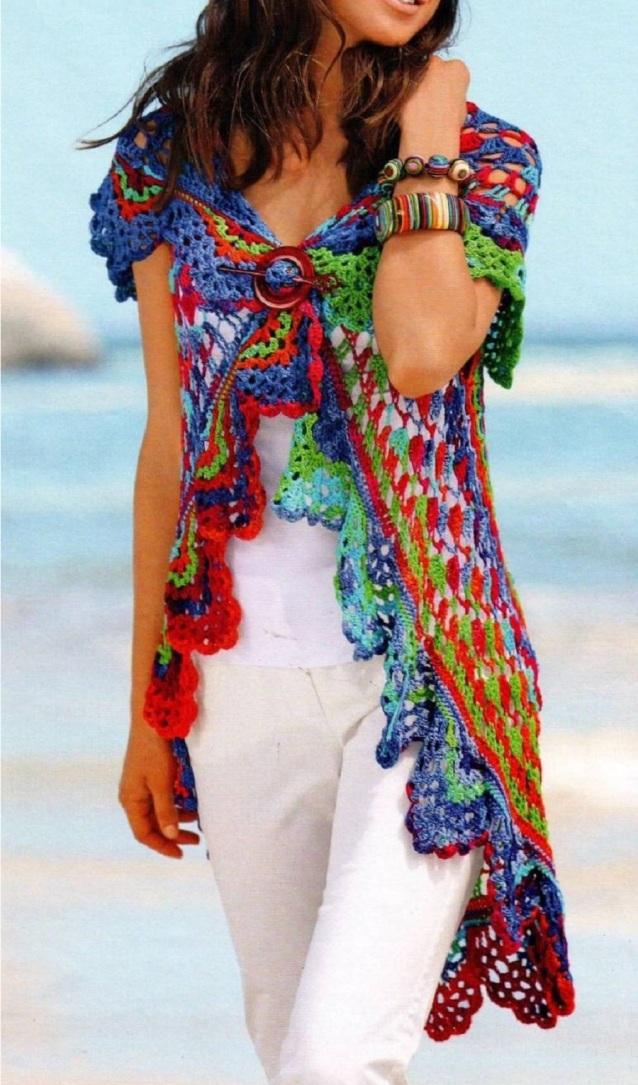 tunica chaleco arco iris de crochet1