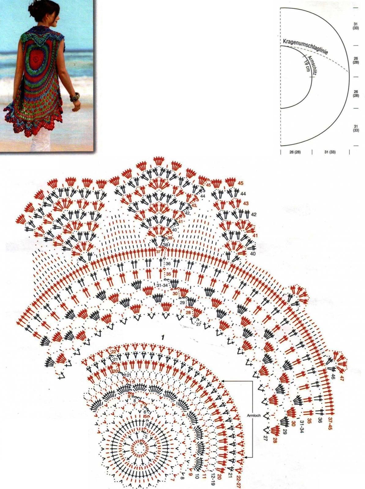 Схемы к кардигану круговые крючком