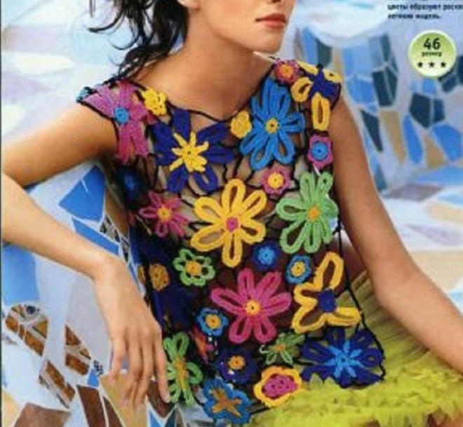 blusa de flores coloridas